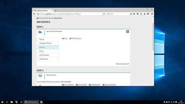Screenshot G DATA Action Center – add metrics