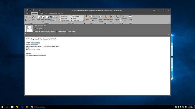 Screenshot G DATA Action Center – email alert