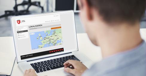 Klient GDATA korzysta z platformy internetowej w celu zlokalizowania swojego smartfona.